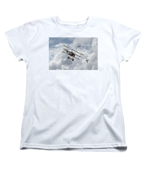 Women's T-Shirt (Standard Cut) featuring the photograph Ww1 - Fokker Dr1 - Predator by Pat Speirs