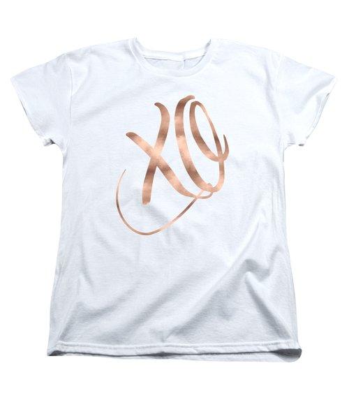 Xo, Rose Gold Women's T-Shirt (Standard Cut) by Donna Gilbert