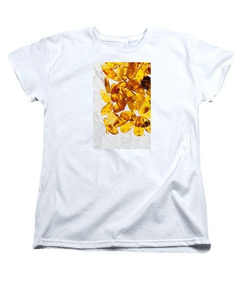 Women's T-Shirt (Standard Cut) featuring the photograph Yellow Amber Stones  by Andrey  Godyaykin