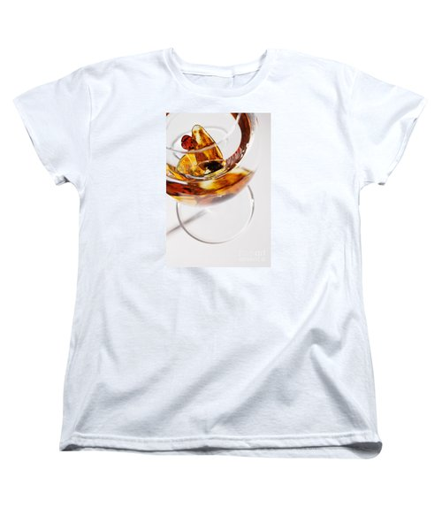 Women's T-Shirt (Standard Cut) featuring the photograph Yellow Amber Stones In A Glass. by Andrey  Godyaykin