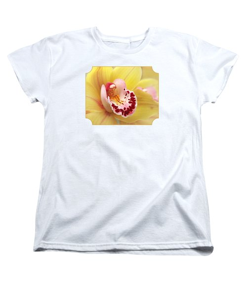 Yellow Cymbidium Orchid Women's T-Shirt (Standard Cut) by Gill Billington