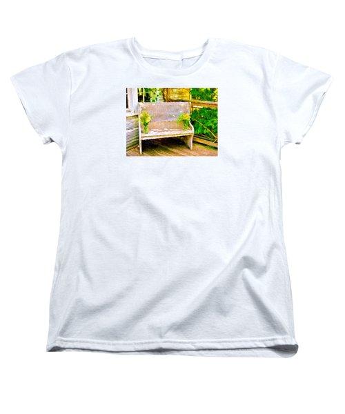 Yellow Flowers On Porch Bench Women's T-Shirt (Standard Cut)
