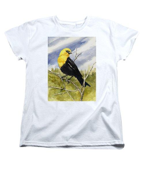 Yellow-headed Blackbird Women's T-Shirt (Standard Cut) by Sam Sidders
