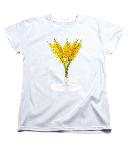 Yellow Orchid In Crystal Vase Women's T-Shirt (Standard Cut) by Atiketta Sangasaeng