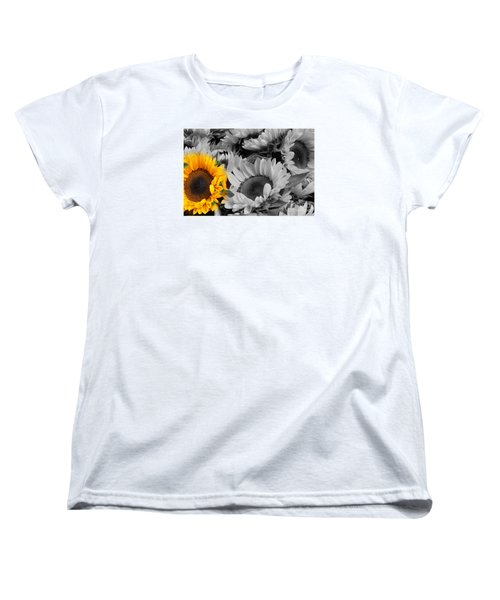Yellow Sunflower On Black And White Women's T-Shirt (Standard Cut)