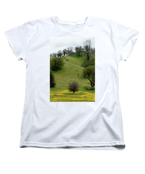 Women's T-Shirt (Standard Cut) featuring the photograph Yellow Wildflowers And Oak Trees by Roger Mullenhour