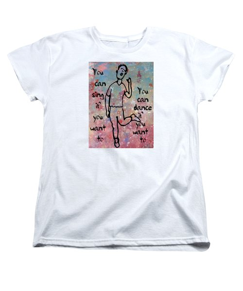 Women's T-Shirt (Standard Cut) featuring the mixed media Yes You Can by John Fish