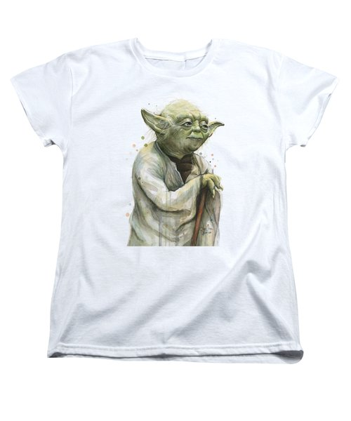 Yoda Watercolor Women's T-Shirt (Standard Cut) by Olga Shvartsur