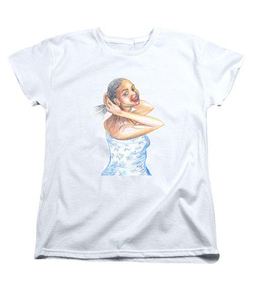 Women's T-Shirt (Standard Cut) featuring the painting Young Cameroun Woman Tying Her Hair by Emmanuel Baliyanga