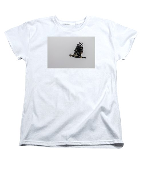 Women's T-Shirt (Standard Cut) featuring the photograph Young Eagle In Flight 07 by Timothy Latta