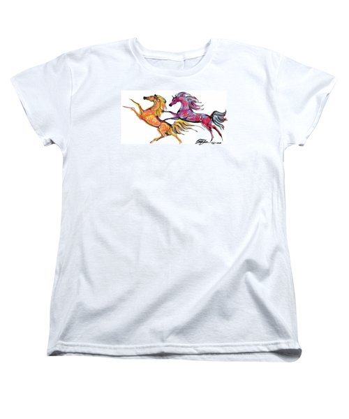 Young Horses Playing Women's T-Shirt (Standard Cut) by Stacey Mayer