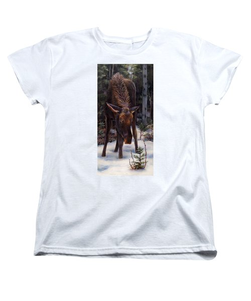 Women's T-Shirt (Standard Cut) featuring the painting Young Moose And Pussy Willows Springtime In Alaska Wildlife Painting by Karen Whitworth