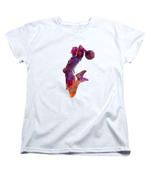 Young Woman Basketball Player 01 In Watercolor Women's T-Shirt (Standard Cut)