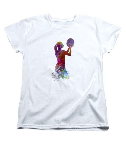 Young Woman Basketball Player 03 In Watercolor Women's T-Shirt (Standard Cut)