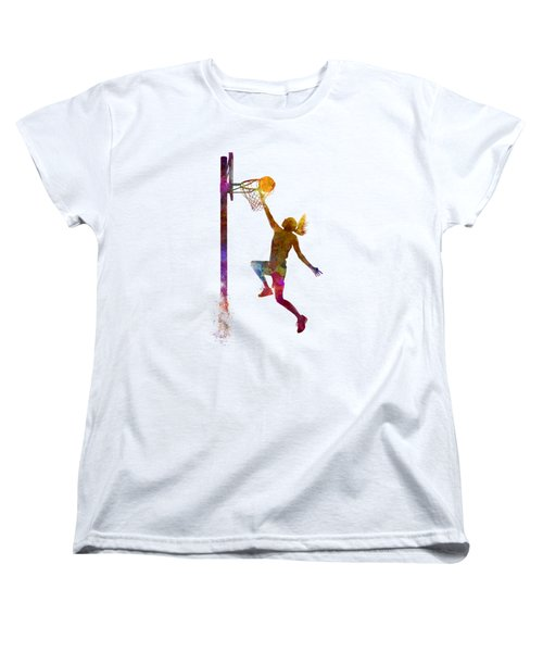 Young Woman Basketball Player 04 In Watercolor Women's T-Shirt (Standard Cut) by Pablo Romero