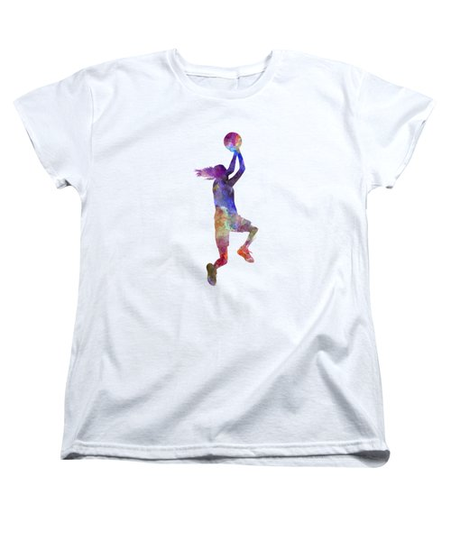 Young Woman Basketball Player 05 In Watercolor Women's T-Shirt (Standard Cut) by Pablo Romero