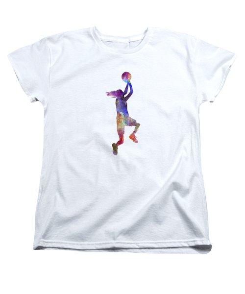 Young Woman Basketball Player 05 In Watercolor Women's T-Shirt (Standard Cut)