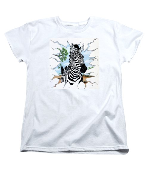 Zany Zebra Women's T-Shirt (Standard Cut) by Teresa Wing