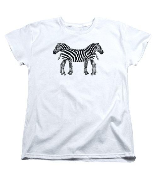 Zebra Pair On Black Women's T-Shirt (Standard Cut) by Gill Billington