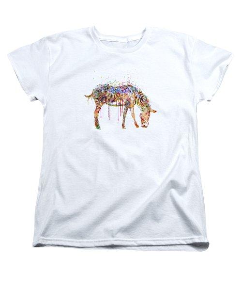 Zebra Watercolor Painting Women's T-Shirt (Standard Cut) by Marian Voicu