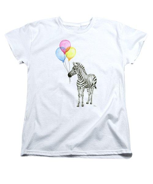 Zebra With Balloons Watercolor Whimsical Animal Women's T-Shirt (Standard Cut) by Olga Shvartsur