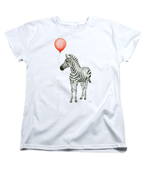 Zebra With Red Balloon Whimsical Baby Animals Women's T-Shirt (Standard Cut) by Olga Shvartsur