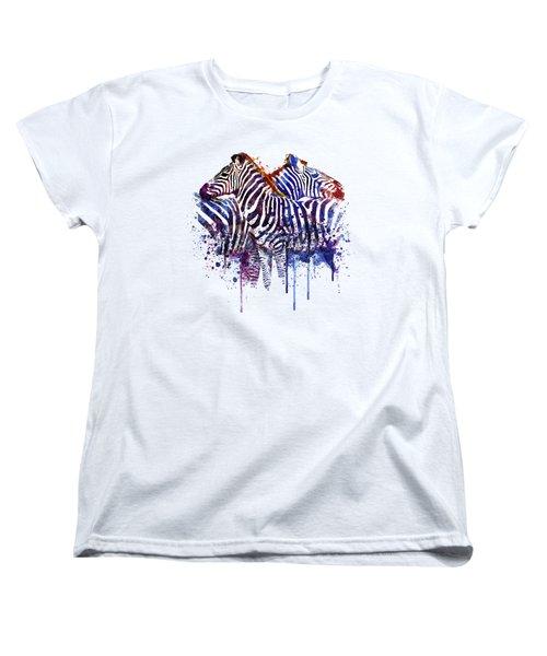 Zebras In Love Women's T-Shirt (Standard Cut) by Marian Voicu