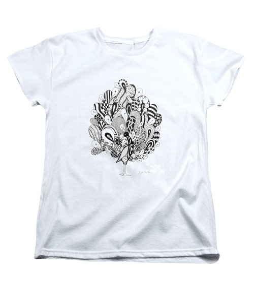 Women's T-Shirt (Standard Cut) featuring the drawing Zen Peacock by Tamyra Crossley