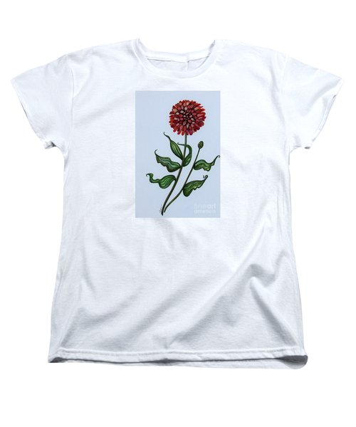 Women's T-Shirt (Standard Cut) featuring the painting Zinnia Botanical by Elizabeth Robinette Tyndall