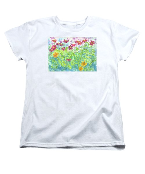 Women's T-Shirt (Standard Cut) featuring the painting Zinnias  by Cathie Richardson