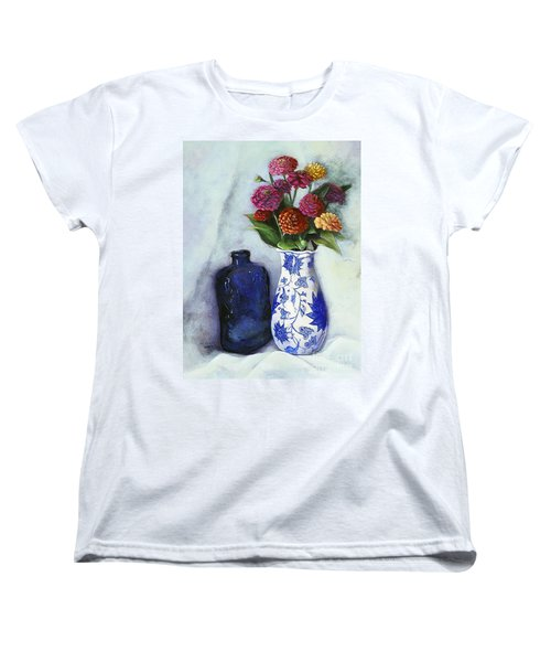 Women's T-Shirt (Standard Cut) featuring the painting Zinnias With Blue Bottle by Marlene Book