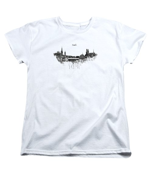 Zurich Black And White Skyline Women's T-Shirt (Standard Cut) by Marian Voicu