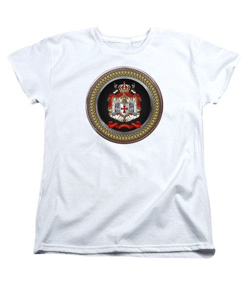 Knights Templar - Coat Of Arms Special Edition Over White Leather Women's T-Shirt (Standard Fit)