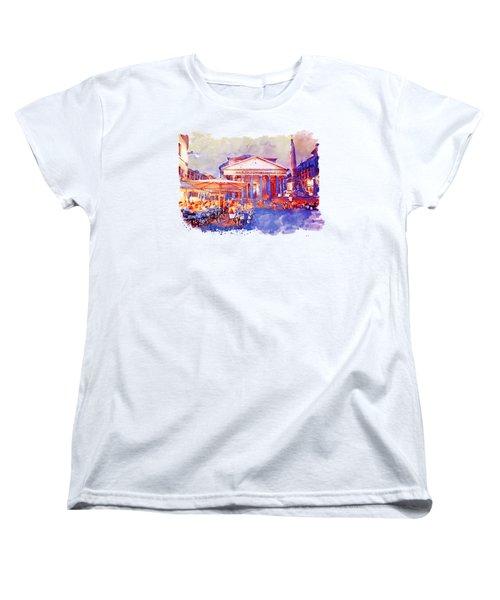 The Pantheon Rome Watercolor Streetscape Women's T-Shirt (Standard Fit)