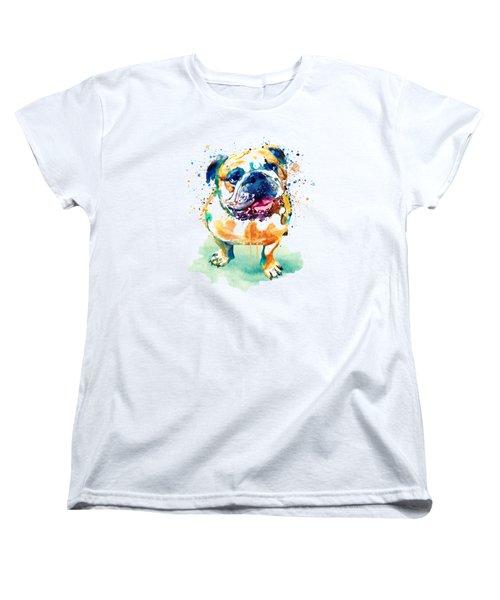 Watercolor Bulldog Women's T-Shirt (Standard Fit)