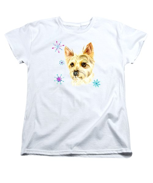 Yorkie Dog And Snowflakes Women's T-Shirt (Standard Fit)