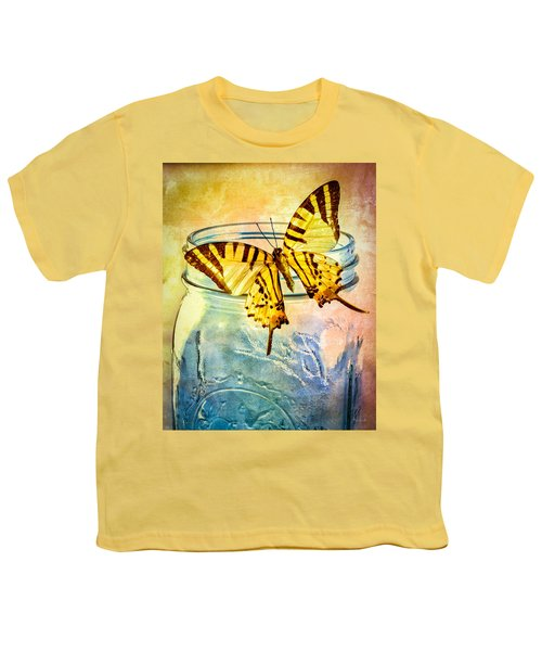 Butterfly Blue Glass Jar Youth T-Shirt