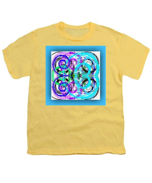 Youth T-Shirt featuring the digital art Composition - Turquoise by Mihaela Stancu