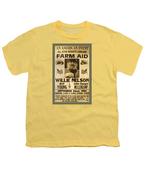 Vintage Willie Nelson 1985 Farm Aid Poster Youth T-Shirt