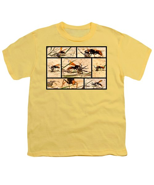 Youth T-Shirt featuring the photograph Wasp And His Kill by Miroslava Jurcik