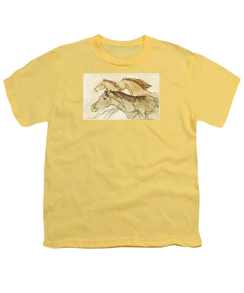Youth T-Shirt featuring the drawing Horse Sketch by Nareeta Martin