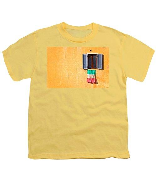 Italian Flag Window And Yellow Wall Youth T-Shirt