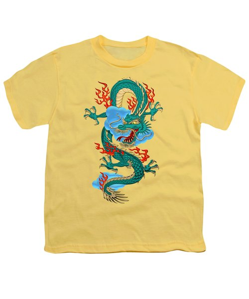 The Great Dragon Spirits - Turquoise Dragon On Rice Paper Youth T-Shirt by Serge Averbukh