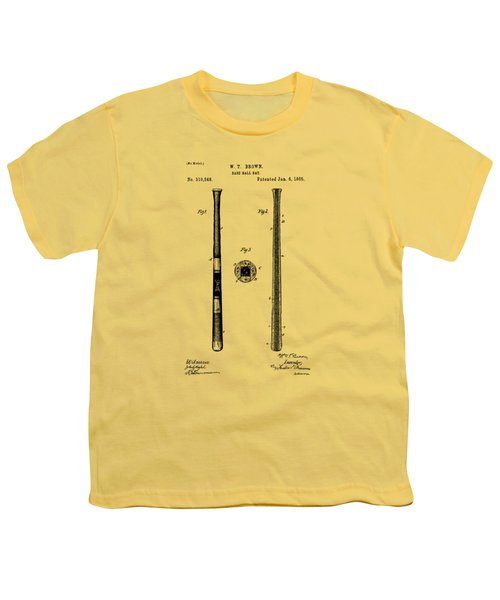 1885 Baseball Bat Patent Artwork - Vintage Youth T-Shirt by Nikki Marie Smith