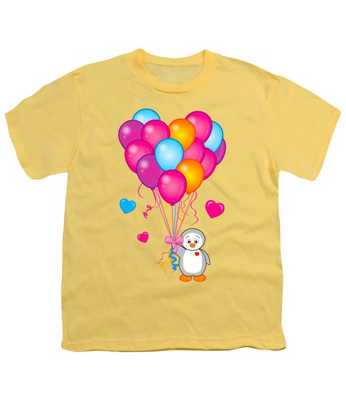 Baby Penguin With Heart Balloons Youth T-Shirt by A
