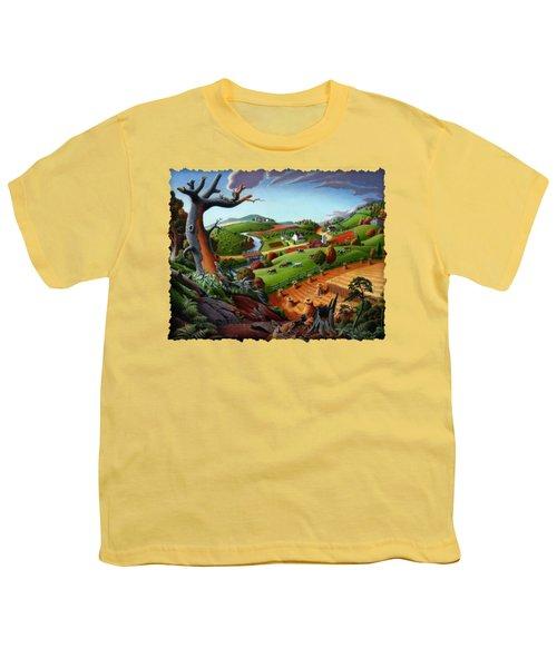 Appalachian Fall Thanksgiving Wheat Field Harvest Farm Landscape Painting - Rural Americana - Autumn Youth T-Shirt
