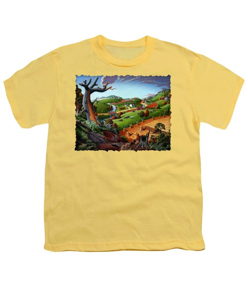 Appalachian Fall Thanksgiving Wheat Field Harvest Farm Landscape Painting - Rural Americana - Autumn Youth T-Shirt