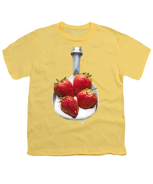 Strawberries N Cream Youth T-Shirt by Jon Delorme