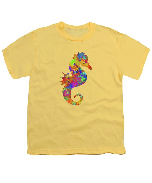 Seahorse Watercolor Art Youth T-Shirt by Christina Rollo