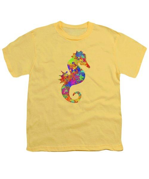 Seahorse Watercolor Art Youth T-Shirt